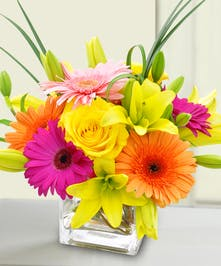 Bursting with vibrant blooms, this cube will brighten Mom's day!