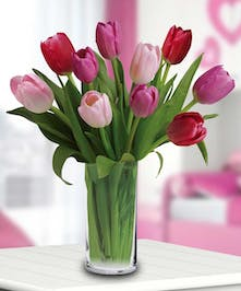 Colorful tulips in a clear tall vase are an excellent way to brighten anyone's day!