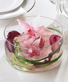 Cymbidium Orchids and Mini Calla Lilies