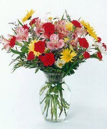 Colorful Vase of Assorted Flowers