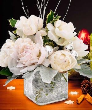 Beautiful Peonies arriving in winter white