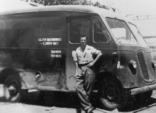 Frank Mancuso, Senior, with an early delivery van in the 1930s